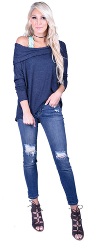 Slouchy Shoulder Top- Navy