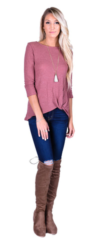 Thermal Faux Knot Top - Mauve
