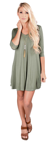 Piko V-Neck Swing Dress- 5 Colors