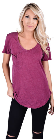 Z Supply V-Neck Pocket Tee- Sangria