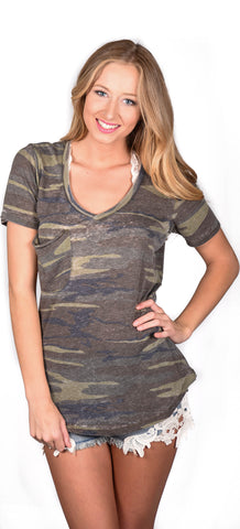 Z Supply V-Neck Pocket Tee - Camo