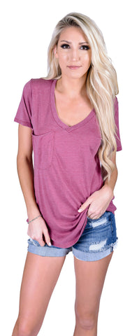 Z Supply V-Neck Pocket Tee- Rosewood