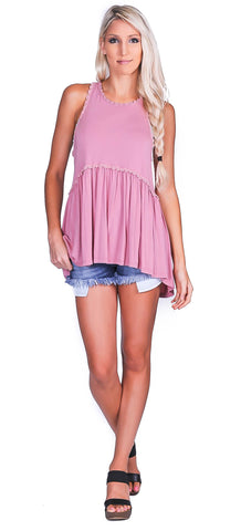 Bailey Babydoll Tank- Strawberry Ice