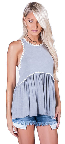 Bailey Babydoll Tank- Heather Grey
