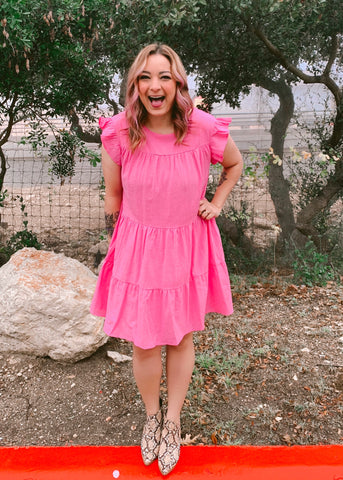 BE MY BABY DRESS- HOT PINK