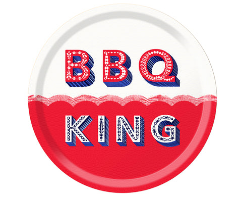 Word Round Tray - BBQ King - by Jamida