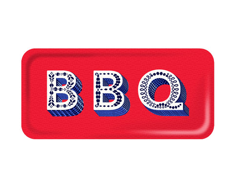 Word Rectangular Tray - BBQ - by Jamida