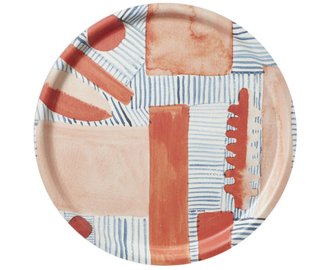 Blush Block and Line Round Tray by Donna Wilson