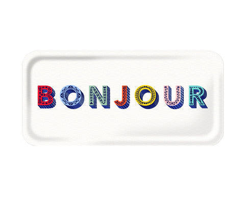 Word Rectangular Tray - Bonjour - by Jamida