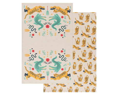 Fierce Set of Two Dish Towels by Danica Studio