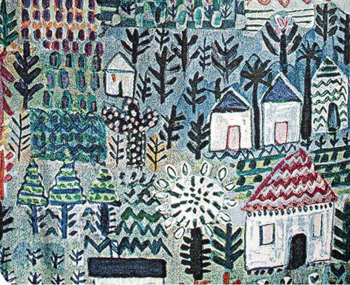 Little Houses Woven Blanket by Lucy Tiffney