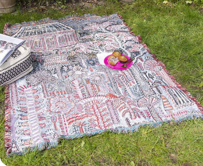 Pink Pavilion Woven Blanket by Lucy Tiffney
