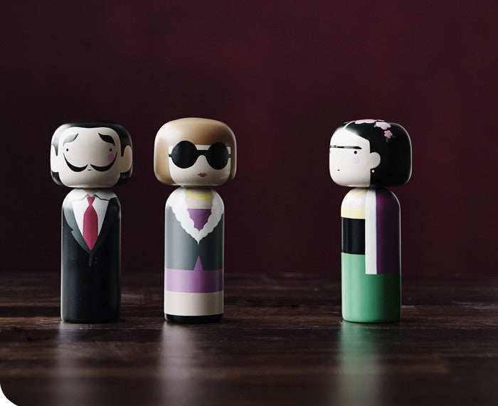 Anna, Frida and Salvador Kokeshi Dolls by Sketchinc.