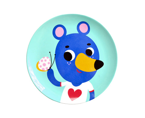 Blue Bear Melamine Plate by Petit Monkey