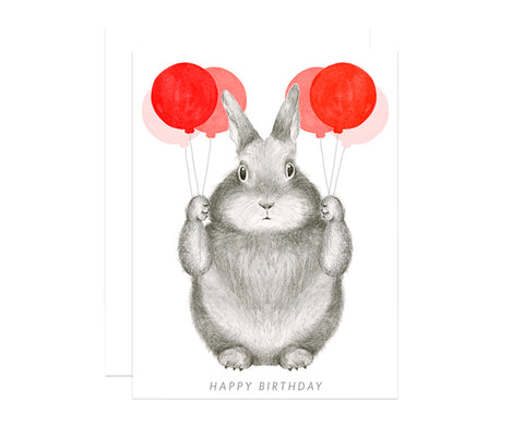 Bunny With Balloons Birthday Card by Dear Hancock