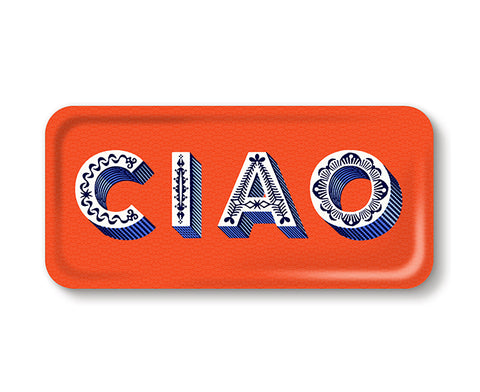 Word Rectangular Tray - Ciao - by Jamida