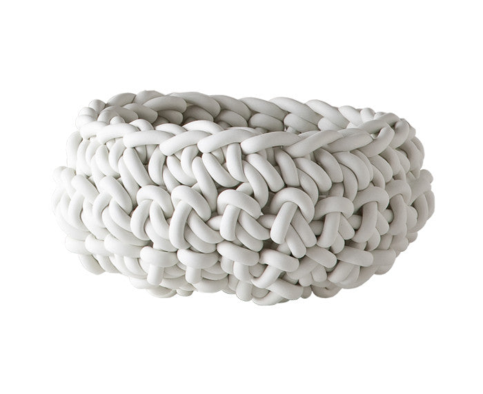 Rubber Crocheted Bowl in white - Medium - by Neo
