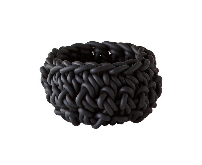 Rubber Crocheted Bowl in black - Small - by Neo