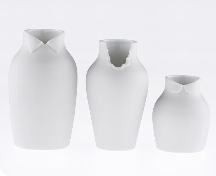 Dress Up Vases in White by Ceramic Japan