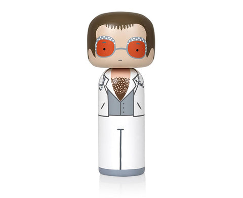 Elton John in White Kokeshi Doll by Sketch.inc