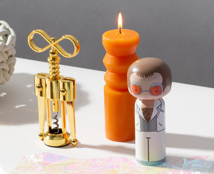 Elton John in White Kokeshi Doll by Sketch.inc for Lucie Kaas