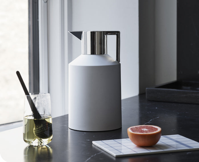 Geo Vacuum Jug White Metallic Edition by Normann Copenhagen