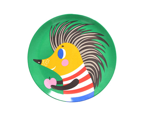 Green Hedgehog Melamine Plate by Petit Monkey