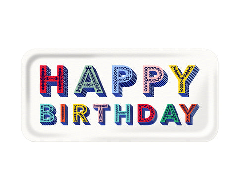 Word Rectangular Tray - Happy Birthday - by Jamida