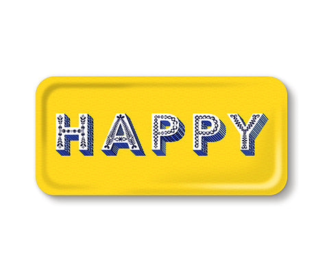Word Rectangular Tray - Happy - by Jamida