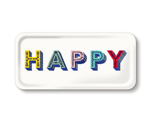 Word Rectangular Tray - Happy Multi - by Jamida