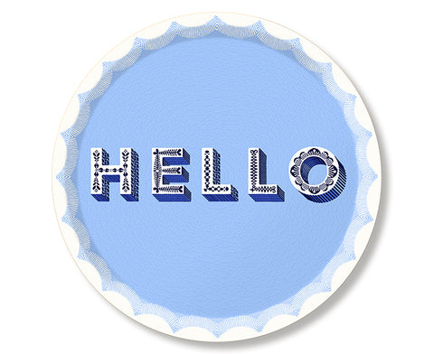 Word Round Tray - Hello - by Jamida