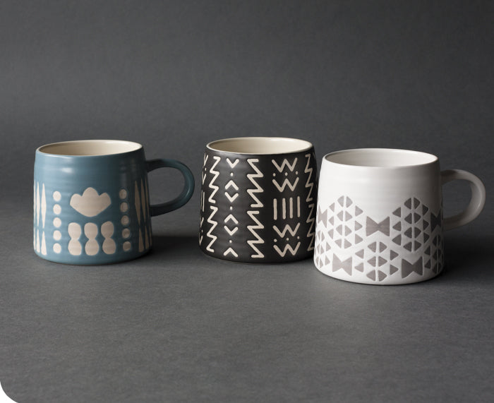 Imprint Ceramic Mug in Black by Danica Studio