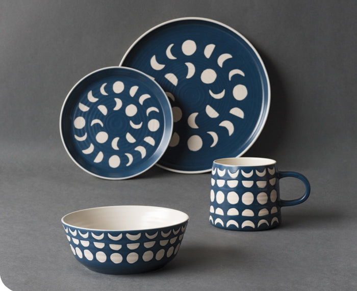 Imprint Ceramic Tableware in Ink by Danica Studio