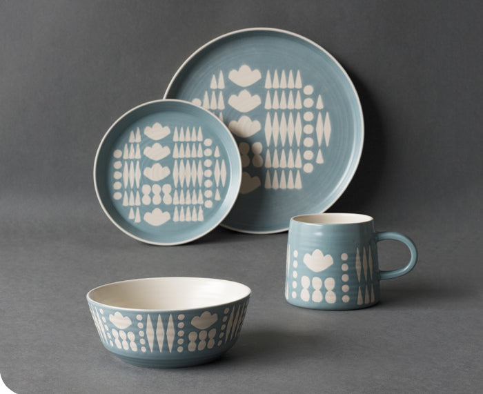 Imprint Ceramic Tableware in Light Blue by Danica Studio
