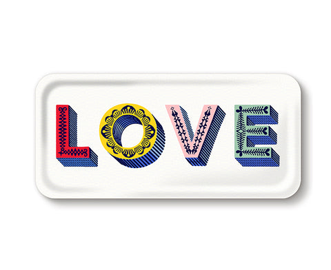 Word Rectangular Tray - Love Multi - by Jamida