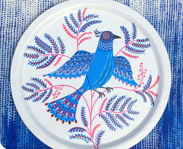 Mimosa Round Tray in Blue