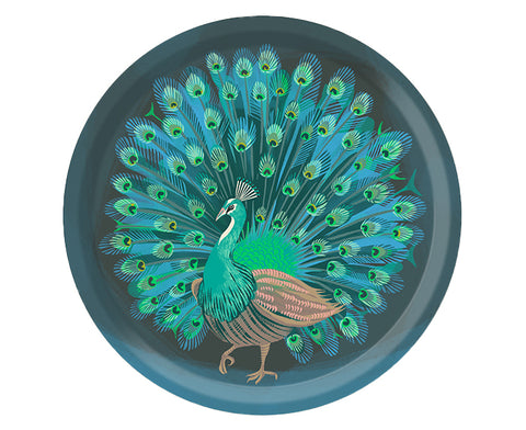 Peacock Round Tray by Jamida