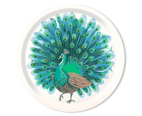 Peacock Round Tray in White by Jamida