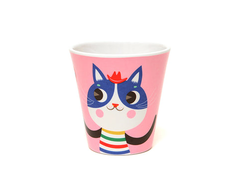Pink Cat Melamine Cup by Petit Monkey