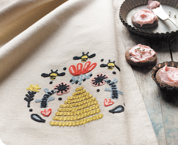 Frida Embroidered Dish Towel by Danica Studio