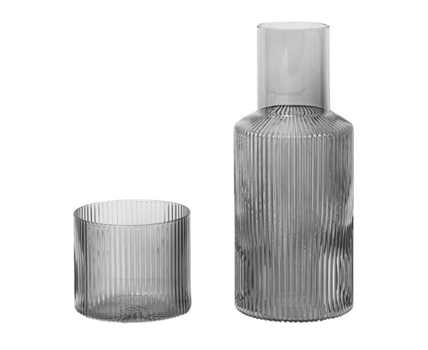 Ripple Smoked Glass Carafe Set by Ferm Living
