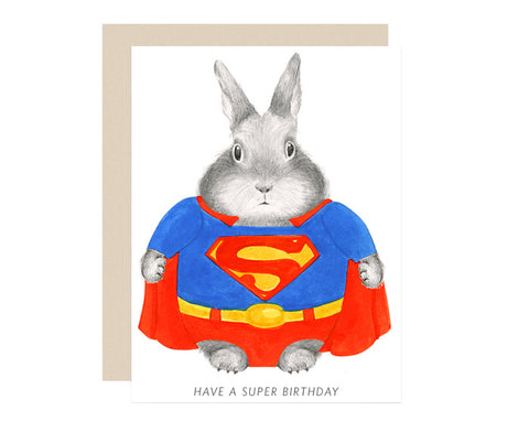 Super Bunny Birthday Card by Dear Hancock