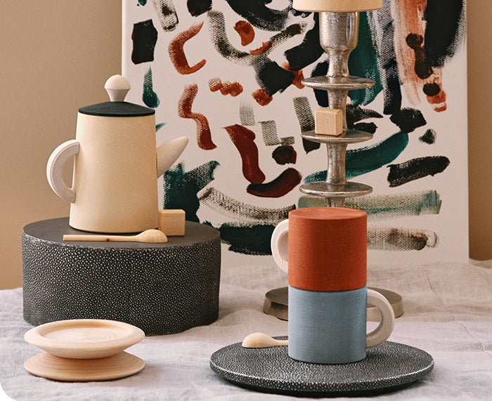 Tea Set in Terra and Blue by Raduga Grez