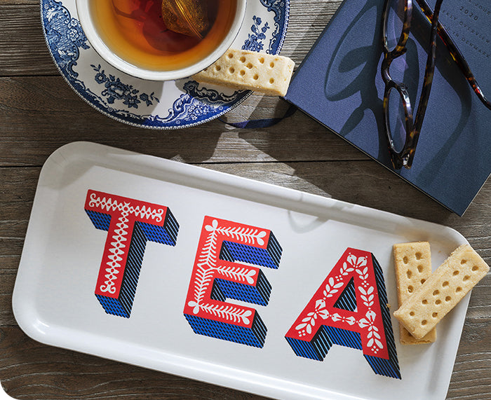 Word Rectangular Tray - Tea - by Jamida