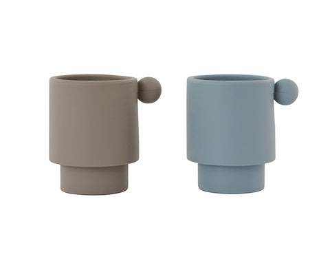 Tiny Inka Set of Cups in Blue and Clay by Oyoy Living Design
