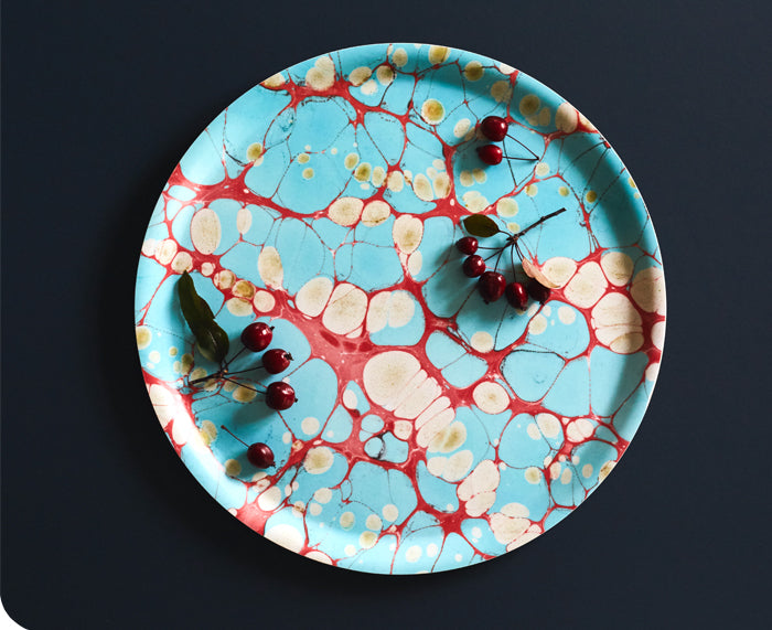 Turquoise Dreams Round Tray by Studio Formata