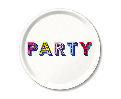Word Round Tray - Party - by Jamida