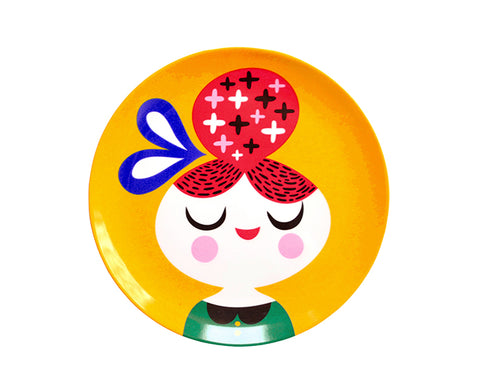 Yellow Girl Melamine Plate by Petit Monkey