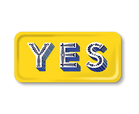 Word Rectangular Tray - Yes - by Jamida