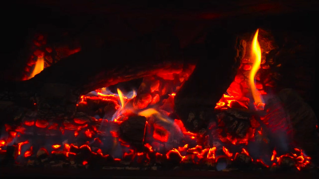 This virtual fireplace provides a relaxing ambience.